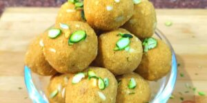 Besan Laddu with Mishri and Dry Fruit